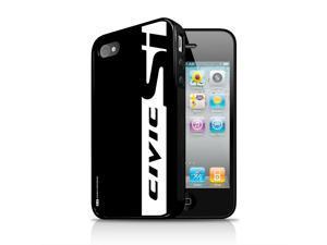 Honda Civic Si Black Stripe Apple iPhone 4 4s Black TPU Rubber Cell Phone Case