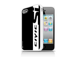 Honda Civic Si Black Stripe Apple iPhone 4 4s White TPU Rubber Cell Phone Case