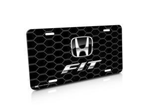 Honda Fit Black Honeycomb Grille Black License Plate