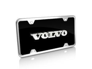 Volvo Name Black Acrylic License Plate with Chrome Frame Kit