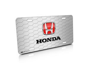 Honda Red Honeycomb Grille Brushed License Plate