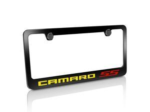 Chevrolet 2010 up Yellow Camaro Red SS Black Metal License Plate Frame
