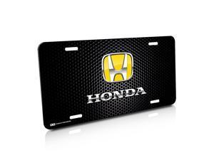 Honda Yellow Logo Punch Grille Black License Plate