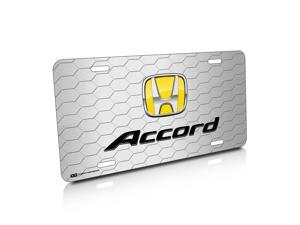 Honda Accord Yellow Logo Honeycomb Grille Brushed License Plate
