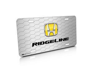 Honda Ridgeline Yellow Logo Honeycomb Grille Brushed License Plate