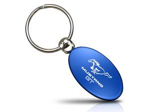 Frod Mustang GT Blue Aluminum Oval Key Chain