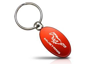 Ford Mustang Red Aluminum Oval Key Chain
