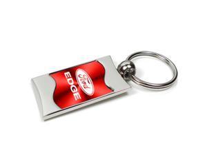 Ford Edge Red Spun Brushed Metal Key Chain