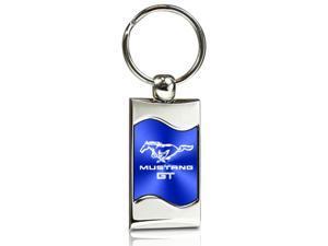 Ford Mustang GT Blue Spun Brushed Metal Key Chain