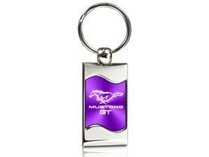 Ford Mustang GT Purple Spun Brushed Metal Key Chain