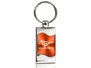 Ford Mustang Orange Spun Brushed Metal Key Chain