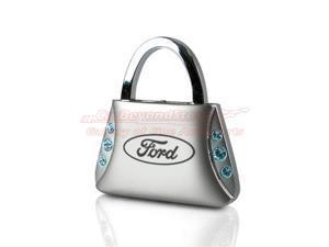 Ford Blue Crystals Purse Shape Key Chain