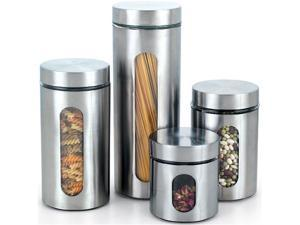 Cook N Home Glass Canister with Stainless Window Set,4pcs