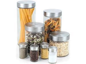 8pcs Glass Canister and Spice Jar Set