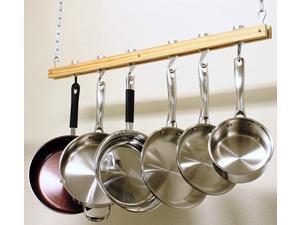 Cook N Home 36 inch Wood Single Bar Pot Rack NC-00269
