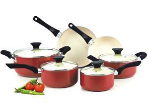 Cook N Home NC-00359 Nonstick Ceramic Coating PTFE-PFOA-Cadmium Free 10-Piece Cookware Set, Red