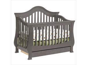 Million Dollar Baby Classic Ashbury 4-in-1 Convertible Crib with Toddler Rail in Manor Grey