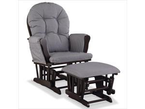 Stork Craft Hoop Custom Glider and Ottoman in Espresso and Slate Gray