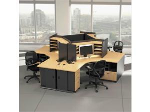 "Bush BBF Series A 42""W Corner Desk with Overhead in Beech and Slate"
