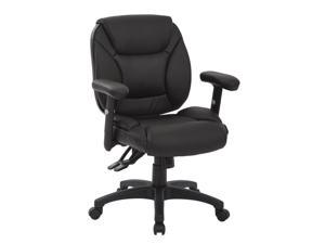 Office Star SPX Leather Multifunction Office Chair in Black