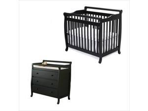 DaVinci Emily Mini 2-in-1 Convertible Crib with Changing Table in Ebony
