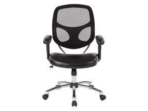Office Star Work Smart Screen Back Task Chair in Chrome Nylon