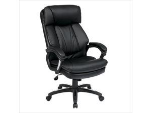 Office Star Work Smart Oversized Faux Leather Executive Office Chair in Black