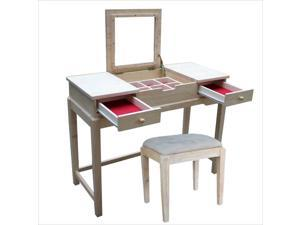 International Concepts Home Accents Unfinished Vanity Table and Bench Set