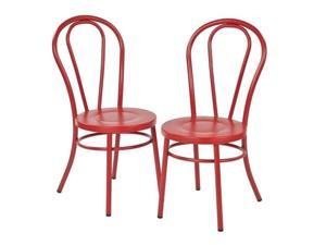 Office Star Odessa Metal Patio Dining Chair in Solid Red (Set of 2)