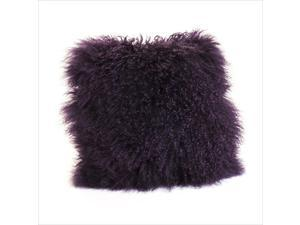 Moe's Lamb Fur Pillow in Purple