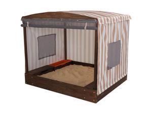 KidKraft Cabana Sandbox in Oatmeal and White Stripes