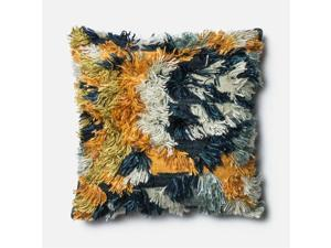 "Loloi 1'10"" x 1'10"" Wool Poly Pillow in Marine and Gold"