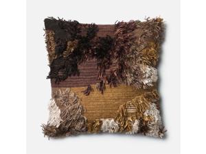"""Loloi 1'10"""" x 1'10"""" Wool Down Pillow in Walnut"""