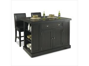 Home Styles 5033-949 Nantucket Island & Two Stools Distressed Black Finish
