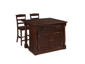 Home Styles Monarch Kitchen Island and Two Stools in Cherry