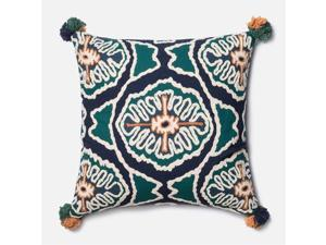 "Loloi 1'10"" x 1'10"" Cotton Down Pillow in Blue and Teal"