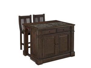 Home Styles Prairie Home Kitchen Island Cart with Stools in Black Oak