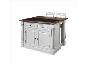 Home Styles Monarch Antiqued White Kitchen Island & Two Stools 5021-948