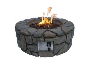 Teamson Peaktop Stone Gas Fire Pit with Cover