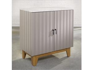 Sauder Soft Modern Storage Cabinet in Moccasin with Pale Oak