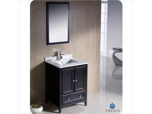 "Fresca Oxford 24"" Bathroom Vanity in Espresso-Savio in Brushed Nickel"