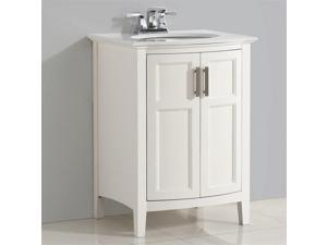 "Simpli Home Winston 24"" Vanity with Rounded Front in Soft White"