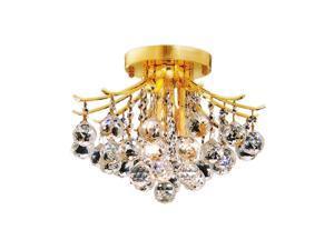 """Elegant Lighting Toureg 12"""" 3 Light Elegant Crystal Flush Mount"""