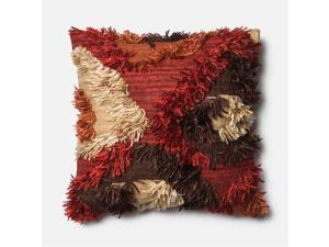 "Loloi 1'10"" x 1'10"" Wool Poly Pillow in Spice"