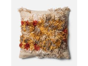 """Loloi 1'10"""" x 1'10"""" Wool Down Pillow in Camel and Sunset"""