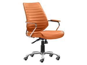 Zuo Enterprise Low Back Faux Leather Office Chair in Terracotta