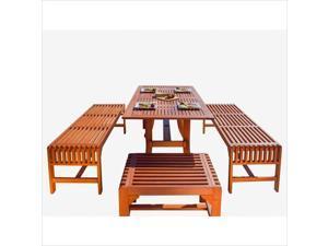 Vifah Malibu 5 Piece Wood Patio Dining Set