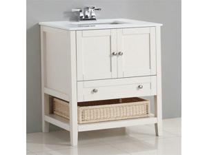 "Simpli Home Cape Cod 30"" Bath Vanity in Soft White"