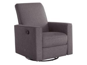 Abbyson Living Hampton Nursery Swivel Glider Recliner Chair in Gray