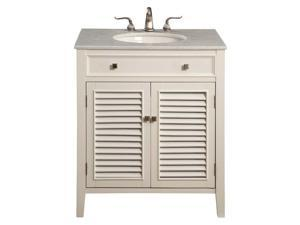 "Elegant Lighting Danville 2 Door 30"" Single Bathroom Vanity in White"